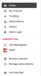 Left side Menu on YouTube