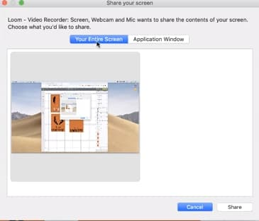 Choose screen to record using loom