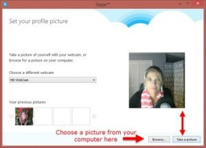 Take Picture for Skype Profile picture